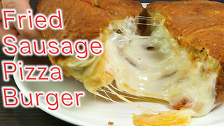 Fried sausage pizza burger - Video