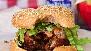 Beer Can Bacon Mushroom Swiss Burger - Video