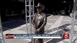 Ryman Unveils Bill Monroe, Jimmy Dickens Statues - Video