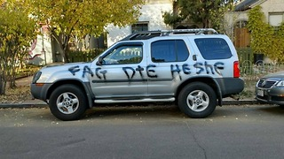Trans woman's car spray-painted with hate speech - Video