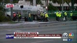 Crews work to clean up tanker crash and fuel spill - Video