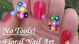 No Tool Needed Floral Nail Art Tutorial - Video