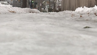 Some sidewalks still covered in snow and ice a week after snowfall - Video