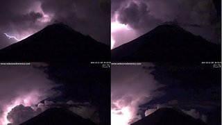 Lightning Storm Illuminates Mexican Volcano - Video