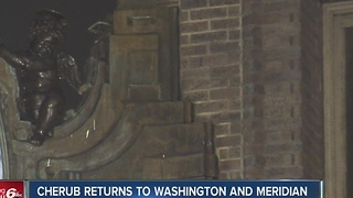 Cherub returns to Washington and Meridian clock - Video