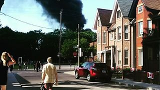 Smoke Billows From Three-Alarm Fire in Toronto - Video