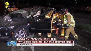 2 men trapped in SUV after rollover crash on I-5 in Chula Vista