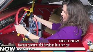 Woman catches thief breaking into car in Ocean Beach - Video