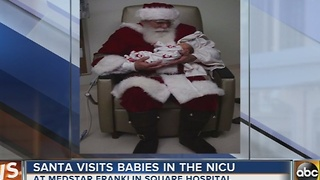Santa visits with babies at MedStar Franklin Square NICU - Video