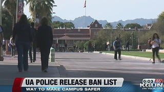 University of Arizona Police release a list of people banned from campus - Video
