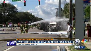Watching storm drains after fuel spill - Video