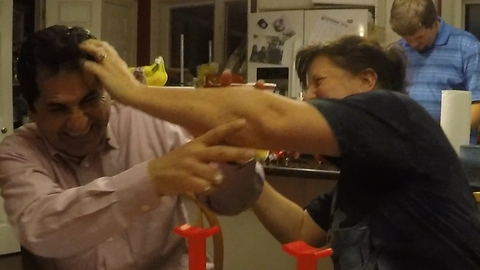 Family game erupts into whipped cream fight