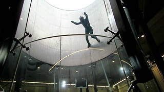 Amazing professional flying skills in wind tunnel