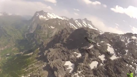 Wingsuit terrain flying in France and Switzerland