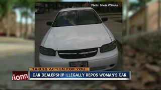 Car dealership illegally repos woman's car - Video