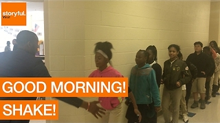 Cool Teacher Greets Each Student With a Personalized Handshake - Video