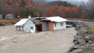 Severe New Hampshire Flooding Washes Whole House Down River - Video