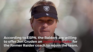 Raiders To Offer Ownership Stake In Team To Lure Jon Gruden Back To Coaching - Video