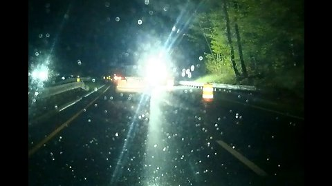 Drivers blinded by road crew's bright light