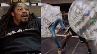 Marshawn Lynch FREAKS OUT Over Girl Being Attacked by a Seal, DESTROYS His Producer in Knockerball - Video