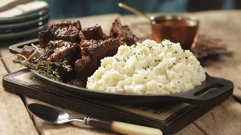 Braised Short Ribs with Roasted Garlic Horseradish Mashed