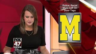 Police: Racial slurs left on door tags - Video