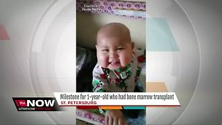 1YO celebrates bone marrow transplant milestone - Video