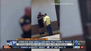 Homeless man gets job after shave from police officer