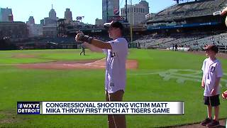 Congressional shooting victim Matt Mika throws first pitch at Tigers game - Video