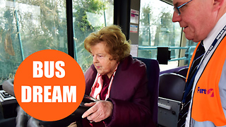 This hilarious footage shows a pensioner fulfilling a lifelong dream - of driving a BUS