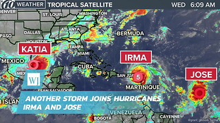 Another Storm Joins Hurricanes Irma and Jose - Video