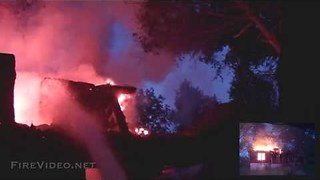 Helmet Cam catches House Fire Roof collapse! - Video