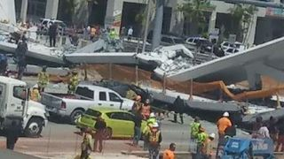 Newly-Built Pedestrian Bridge Collapses Over Busy Miami Roadway - Video