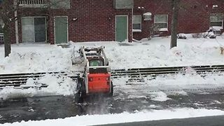 Snowplow Clears Road After Green Bay Blanketed by Heavy Snowfall - Video