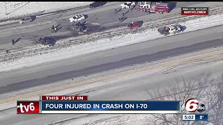 Four people hurt in two vehicle crash on I-70 in Hendricks County