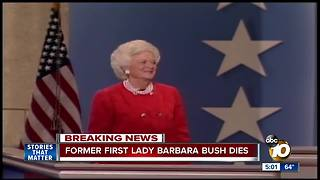 Former First Lady Barbara Bush dies - Video
