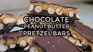 Chocolate peanut butter pretzel bars recipe