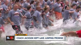 Cannonball? Browns coach fulfills promise, jumps into Lake Erie - Video