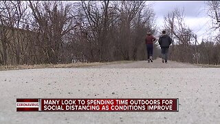 Many look to spending time outdoors for social distancing as conditions improve