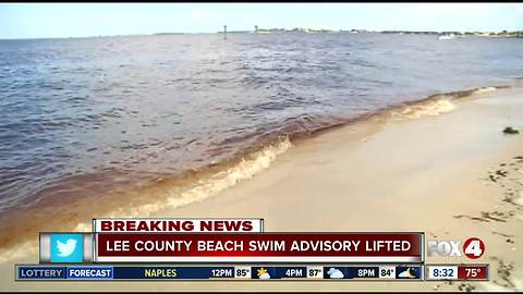 Beach swimming advisory lifted in Lee County