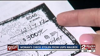 Woman's check stolen from USPS mailbox