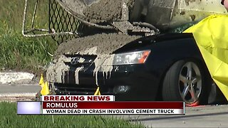 Woman dead in crash involving cement truck
