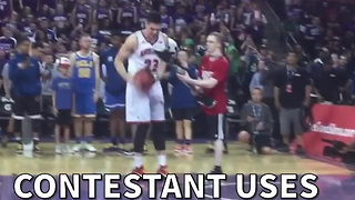 Contestant Uses Prosthetic Leg For Dunk Contest - Video