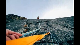 Mountaineer experiences dramatic fall during climb