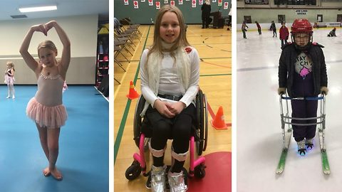 Paralysed by a 'cold'! Girl told she was 'paralysed from the skull down' defies doctors by frequently getting out of her wheelchair to run, dance and swim