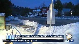 San Diego mountain roads back open following dangerous icy conditions