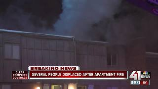 13 displaced after Overland Park apartment fire - Video