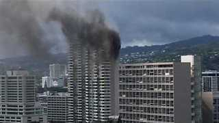 Dark Smoke Billows From Deadly High-Rise Fire in Hawaii - Video