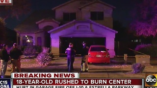 18-year-old taken to burn center after garage catches on fire - Video