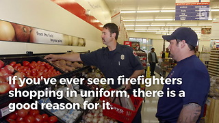 Here's Why You See Firefighters Grocery Shopping In Uniform - Video
